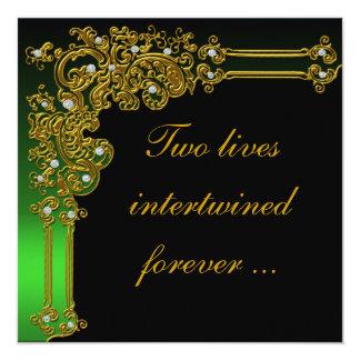 Formal Black and Green Wedding Invitation