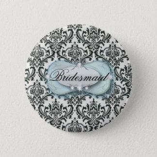 formal black and white damask wedding pinback button