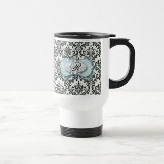 formal black and white damask wedding travel mug
