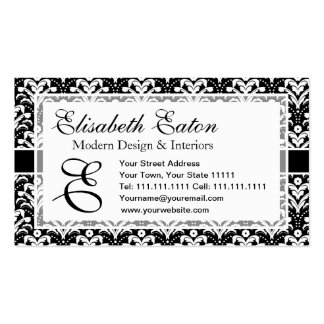 Formal Black and White Retro Damask Art Deco Style Double-Sided Standard Business Cards (Pack Of 100)