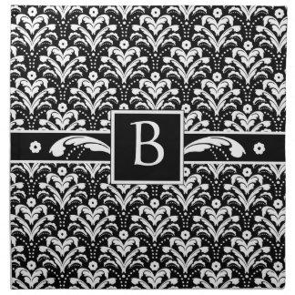 Formal Black and White Retro Damask Art Deco Style Napkin