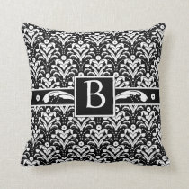 Formal Black and White Retro Damask Art Deco Style Throw Pillow