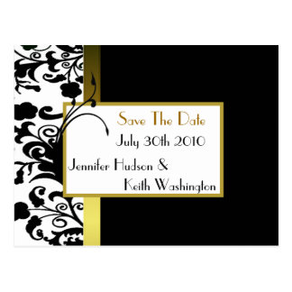 Formal Black and White Save the Date Post Card
