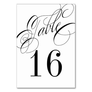 Formal Black and White Table Number Card Table Card