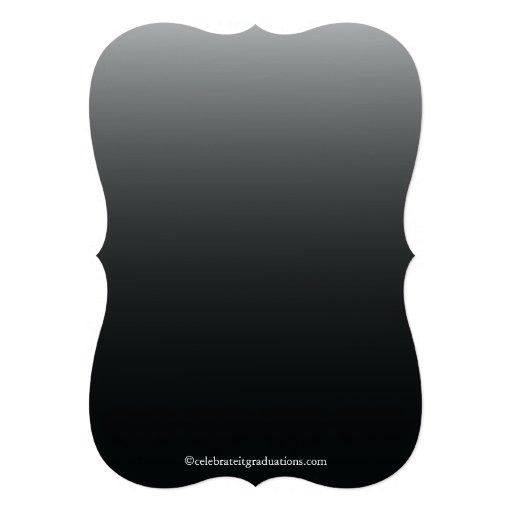 Formal Black Elegant Flourish Graduation Party Announcement (back side)