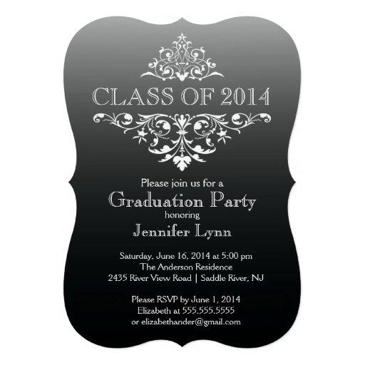Formal Black Elegant Flourish Graduation Party Announcement