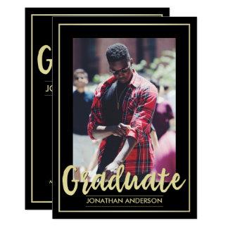 Formal Black & Gold Graduate Party | Custom Photo Card