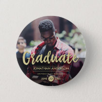 Formal Black & Gold Graduation Party | Photo Button