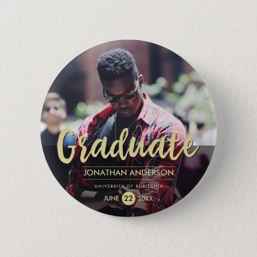 Formal Black  Gold Graduation Party  Photo Button
