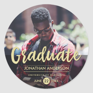 Formal Black & Gold Graduation Party | Photo Classic Round Sticker