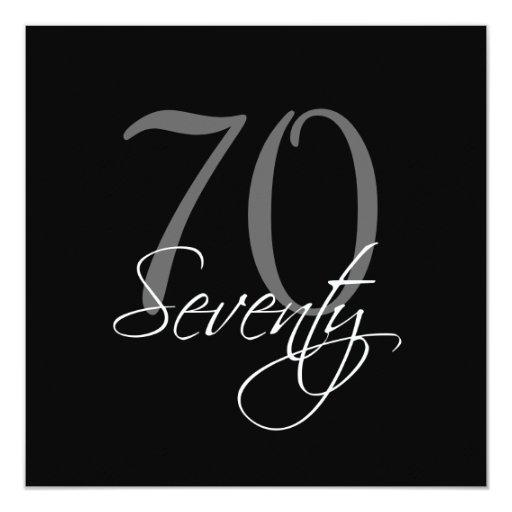 Formal Black Grey 70th Birthday Invitations