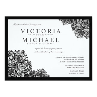 Formal Black Lace Square Wedding Invitations