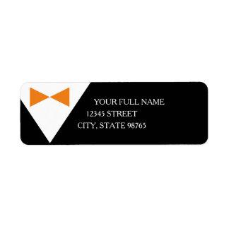 Formal Black & Orange Tuxedo Address Labels