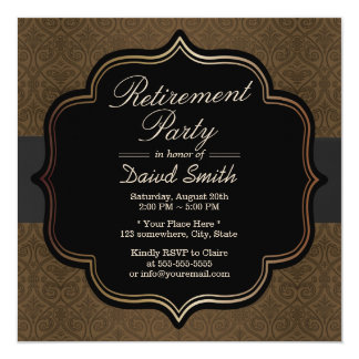 Formal Black Ribbon Brown Damask Retirement Party Card