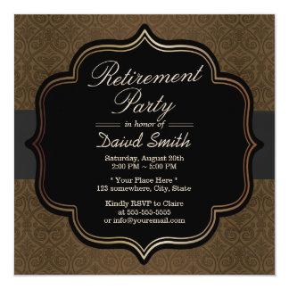 Formal Black Ribbon Brown Damask Retirement Party Card