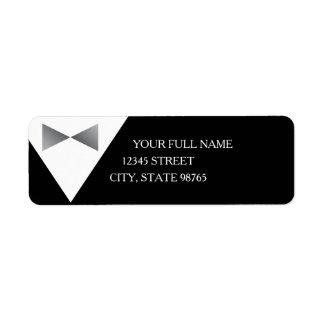 Formal Black & Silver Tuxedo Return Address Labels