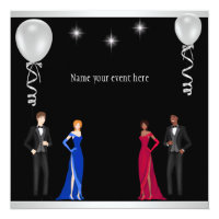 Formal Black Silver White Balloons Special Event Card