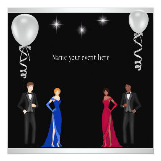 Formal Black Silver White Balloons Special Event Invitation