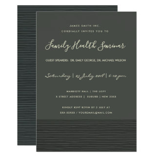 FORMAL BLACK SKETCH STRIPE LINE TALK SEMINAR EVENT CARD