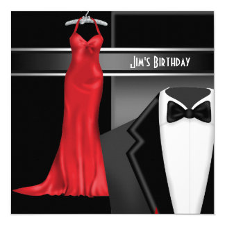 Formal Black Tie Birthday Dinner Party Invitation