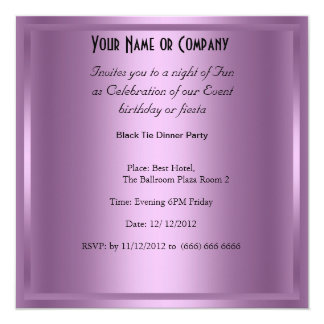 Formal Black Tie birthday Party Invitation Personalized Announcement