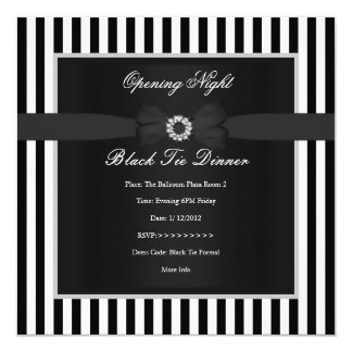 Formal grand opening invitations announcements zazzle formal black tie dinner black white stripe bow card stopboris Images