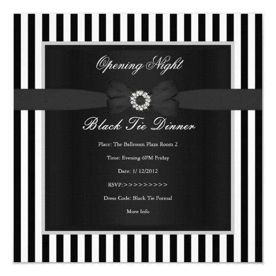 Formal Black Tie Dinner Black White Stripe Bow Card