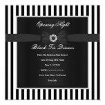 Formal Black Tie Dinner Black White Stripe Bow Invitation