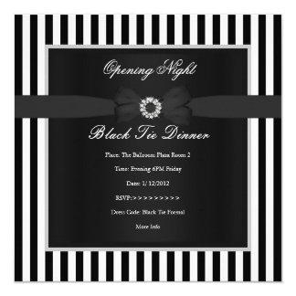 Formal Black Tie Dinner Black White Stripe Bow 5.25x5.25 Square Paper Invitation Card