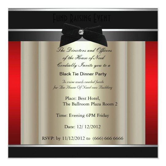 Formal Black Tie Dinner Party Invitation   Zazzle.com