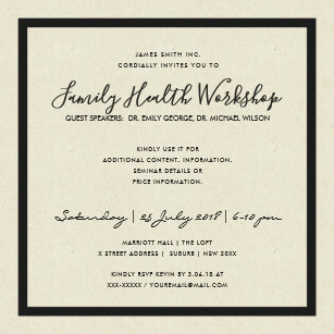 Formal event invitations announcements zazzle formal black white damask classic workshop event card stopboris