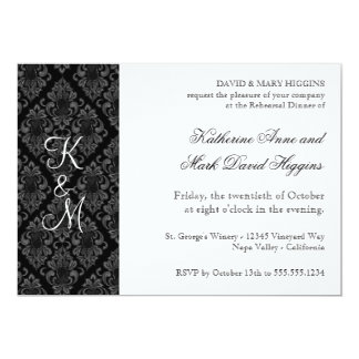 Formal Black White Damask Rehearsal Dinner Invites