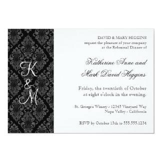 "Formal Black White Damask Rehearsal Dinner Invites 5"" X 7"" Invitation Card"