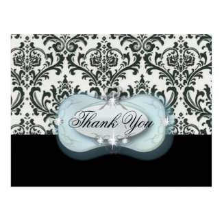 formal black white damask wedding thank you postcard