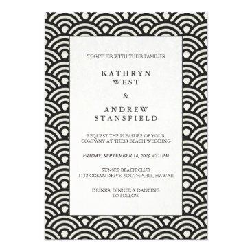 Beach Themed Formal Black   White Patterned Wedding Invitation