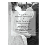 Formal Black & White Photo Wedding Card
