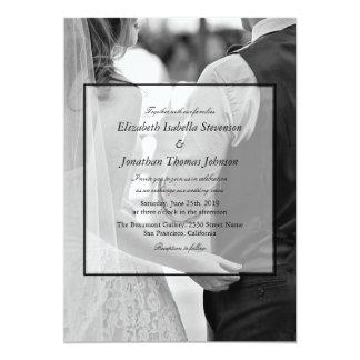 Formal Black & White Photo Wedding Card