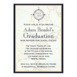 "Formal Blue Compass Map Graduation Announcements 5"" X 7"" Invitation Card"