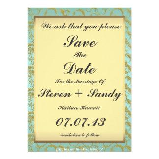 Formal Blue & Gold Filigree Save The Date Custom Invites