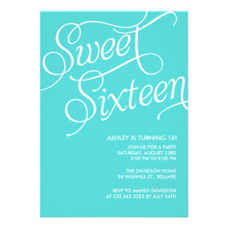 Formal Blue Sweet 16 Invitations