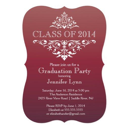 Formal Burgundy Elegant Flourish Graduation Party Personalized Invitations