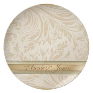 Formal champagne Damask Wedding Gift Plate
