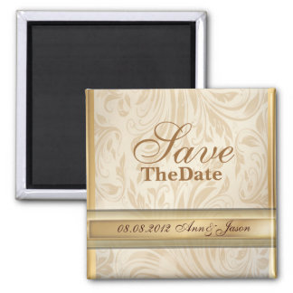 Formal champagne gold Damask Wedding 2 Inch Square Magnet
