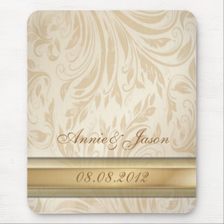Formal champagne gold Damask Wedding Mouse Pad