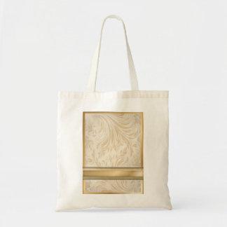 Formal champagne gold Damask Wedding Tote Bag