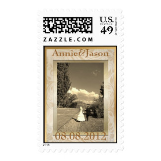 Formal champagne gold Wedding Photo Stamps