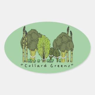 Formal Collard Greens Oval Sticker