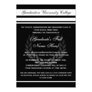 Formal College Graduation Announcements (Black)