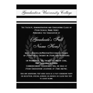 Formal College Graduation Announcements Black