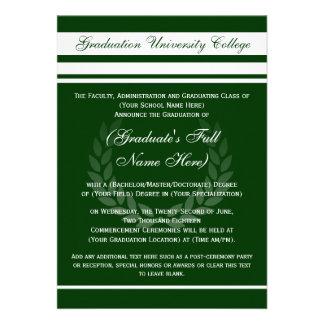 Formal College Graduation Announcements (Green)